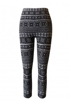 KIDS FAIRISLE JACQUARD SEAMLESS FLEECE LEGGING(SIZE:4/6X) #KSJ15FL06
