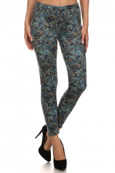 TEAL MULTICOLOR PAISLEY PRINT BRUSH POLY FUR-LINED LEGGING #PL15FUR13
