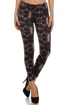 PURPLE MULTICOLOR ABSTRACT PRINT BRUSH POLY FUR-LINED LEGGING #PL15FUR14