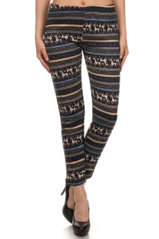GREY/TEAL REINDEER PRINT BRUSH POLY FUR-LINED LEGGING #PL15FUR15