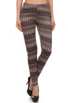 BROWN/BLACK FAIRISLE PRINT BRUSH POLY FUR-LINED LEGGING