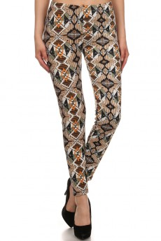 BROWN/MULTI COLOR NAVAJO PRINT BRUSH POLY FUR LINED LEGGINGS#PL15FUR23