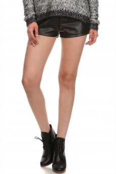 Zeena SOLID BLACK PU FLEECE-LINED SHORTS WITH ZIPPER #SH14PU002