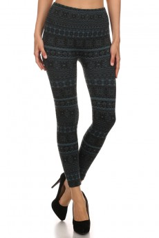JACQUARD SEAMLESS FUR-LINED LEGGINGS SNOWFLAKE #SJ15FUR40
