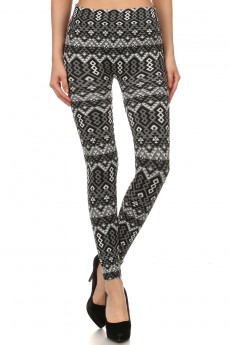 JACQUARD SEAMLESS FUR-LINED LEGGINGS TRIBAL #SJ15FUR43