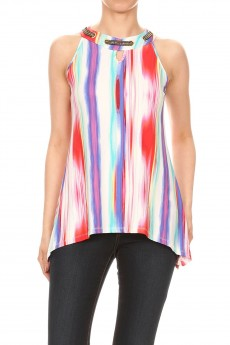 Non Brushed Tie Dye Chain Grommet Sharkbite Sleeveless #SL004-AB03