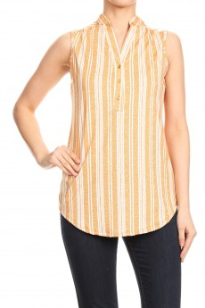 NON BRUSHED STRIPE PRINT SLEEVELESS PLACKET TOP#SL008-SP07C