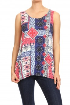 Patchwork Rayon Span Twist Back Sharkbite Sleeveless Top#SL010-PW02