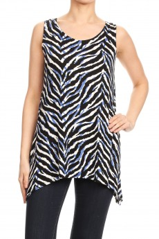 RAYON SPAN ZEBRA PRINT TWIST BACK SLEEVELESS TOP#SL010-SK10