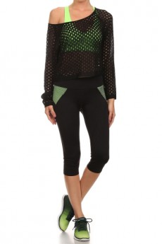 Mesh Stitch longsleeve cropped sweater top #SW15A30