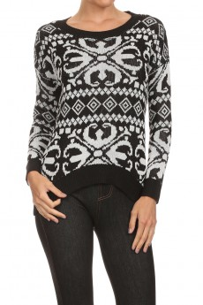 JACQUARD HI-LOW LONG SLEEVE PULLOVER SWEATER #SW15P11