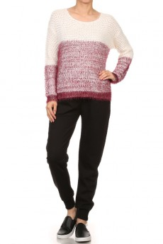 TWO-TONE LONG SLEEVE PULLOVER SWEATER # SW15PA50