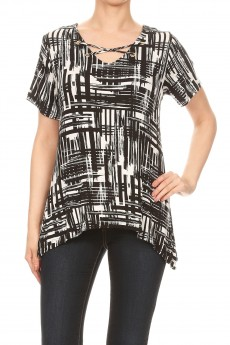 Rayon Span Abstract Short Slv Grommet X Nk Sharkbite Top#TS003-AB04