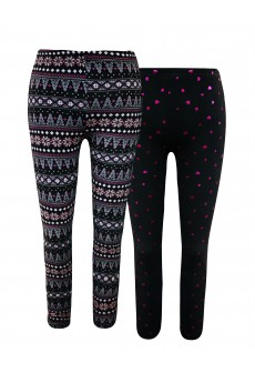 KIDS 2PACK BRUSH POLY FLEECE LINED BLACK/PINK/WHITE FAIRISLE & BLACK/HOT PINK FOIL HEART PRINT LEGGING(7/8, 10/12)#X2K8L111-06