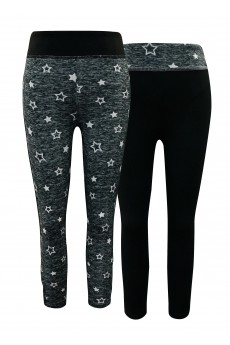 KIDS CONT. BLACK/DARK HEATHER GREY/WHITE STAR PRINT HIGH WAIST LEGGING W STRAPS(2PACK) (7/8,10/12)#X2K8L88-01