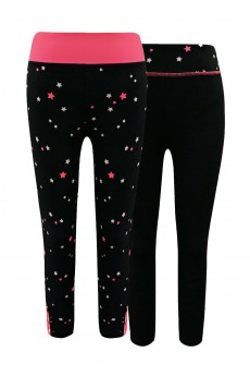 KIDS CONT. BLACK/NEON PINK/LIGHT PINK STAR PRINT HIGH WAIST LEGGING W STRAP(7/8, 10/12)(2PACK) #X2K8L88-02