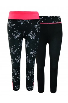 KIDS CONT. BLACK/WHITE UNICORN PRINT HIGH WAIST LEGGING W STRAPS(7/8,10/12)(2PACK) #X2K8L88-06