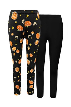 KIDS 2PK HALLOWEEN PRINT BRUSH POLY FLEECE LINED LEGGING (7/8, 10/12) #X2KL017-CV22