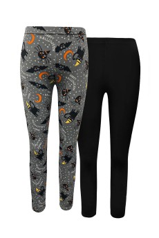 KIDS 2PK HALLOWEEN PRINT BRUSH POLY FLEECE LINED LEGGING (4/5,6/6X)#2KL017-CV24
