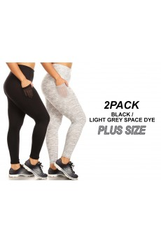 2PACK BRUSH POLY LEGGING W/ SIDE PANELS AND MESH POCKETS#X2P9L30-SD07