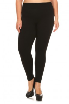 PLUS SIZE FRENCH TERRY SEAMLESS LEGGINGS#X6SS9000A