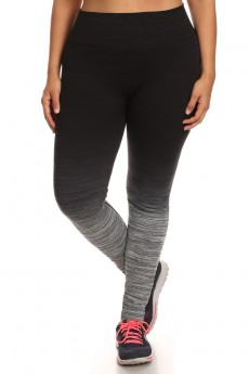 PLUS SIZE OMBRE SPORT LEGGINGS #X6L13