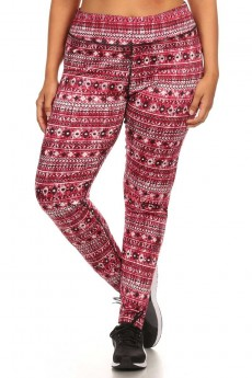 PLUS ABSTRACT TRIBAL PRINT LEGGING W/ CONTRAST INSIDE W/B #X6L17-05