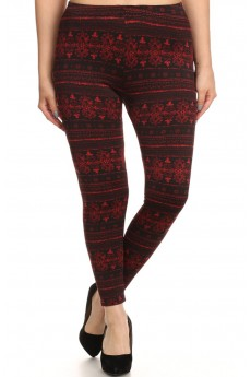 PLUS SIZE BURGUNDY/BLACK WALLPAPER PRINT BRUSH POLY FLEECE LEGGING #X6L23-02