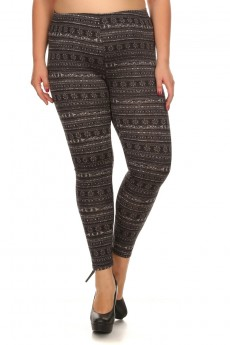 PLUS SIZE FLEECE-LINED PRINTED LEGGINGS #X6L23-05