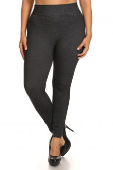 PLUS HEATHER TWILL KNITTING SEAMLESS FRENCH TERRY LEGGING #X6L38