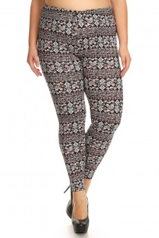 PLUS BLACK/WHITE/CORAL BOHO ELEPHANT PRINT BRUSH POLY LEGGING #x7L01-02