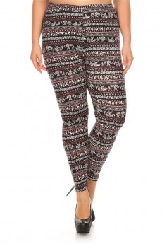 PLUS BLACK/WHITE/BURGUNDY ELEPHANT PRINT BRUSH POLY LEGGING #X7L01-20
