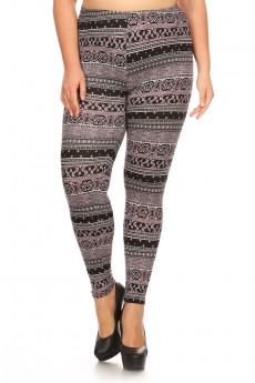PLUS PINK/BLACK/WHITE AZTEC PAISLEY PRINT BRUSH POLY LEGGING #X7L01-28