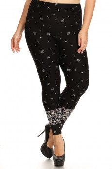 BLACK/WHITE/CORAL ELEPHANT BORDER PRINT BRUSH POLY LEGGING#X7L11-01