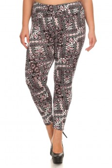 PLUS SIZE BLACK/MAUVE ABSTRACT GEO PRINT BRUSH POLY HIGH WAIST LEGGING #X7L14-06
