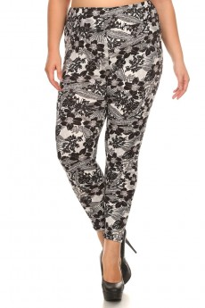 PLUS SIZE BLACK/WHITE TROPICAL PRINT BRUSH POLY HIGH WAIST LEGGING #X7L14-10