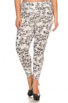 PLUS SIZE WHITE/BLACK FLORAL PRINT BRUSH POLY HIGH WAIST LEGGING#X7L14-14