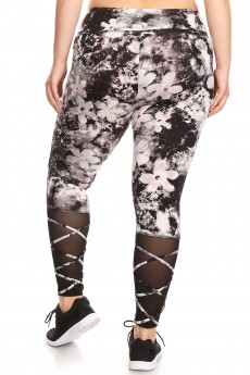 BLACK/GREY/IPNK FLORAL MID-RISE LEGGING W/ STRAPPY MESH PANELS#X7L18-02