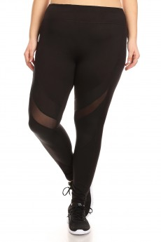 BLACK LEGGING W/ CONTRAST MESH AND CRACKLED PU PANELS#X7L85