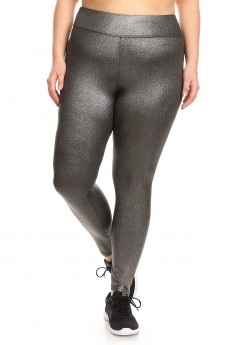 PLUS SIZE SILVER METALLIC KNIT LEGGING #X7L99