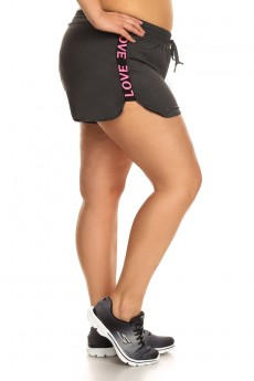 PLUS SIZE SHORTS WITH TWILL TAPE WORDING SIDE PANELS #X7SH07