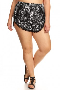 PLUS SIZE BLACK/WHITE TROPICAL PRINT OVERLAP SHORTS W/ POMPOM TRIM#X7SH10-05