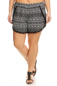 PLUS SIZE BLACK/WHITE ELEPHANT PRINT OVERLAP SHORTS W/ POMPOM TRIM#X7SH10-12
