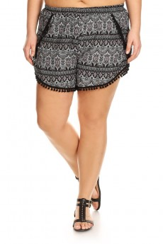 PLUS SIZE BLACK/CORAL/WHITE TRIBAL PRINT OVERLAP SHORTS W/ POMPOM TRIM #X7SH10-15