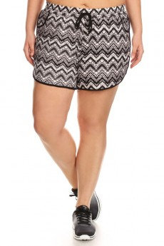 PLUS SIZE BLACK/WHITE TIEDYE CHEVERON PRINT POLY KNIT SHORTS W/ TIE#X7SH12-21