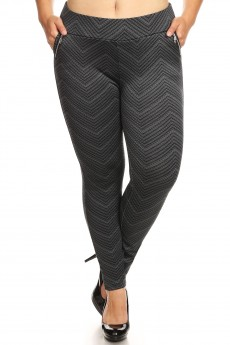 PLUS BLACK/GREY CHEVRON PRINT TREGGING WITH ZIPPER DETAIL#X7TRG09-05