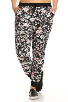 PLUS SIZE BLACK/CORAL/BLUE SKETCH FLORAL PRINT BRUSH POLY JOGGER#X7TRK02-11