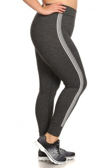 PLUS SIZE SIDE JACQUARD SEAMLESS JOGGER LEGGINGS#X7TRK05-03