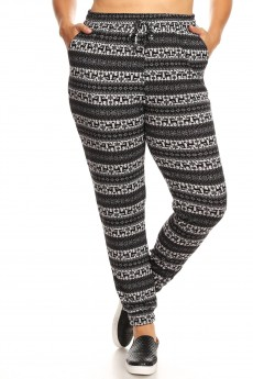BLACK/HEATHER GREY REINDEER PRINT SWEATER KNIT JOGGER #X7TRK14-02