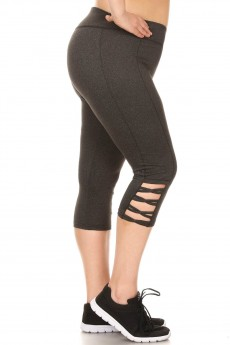 HEATHER CHARCOAL SCULPTING CAPRIS W/ SIDE CROSS STRAPS#X8CP27